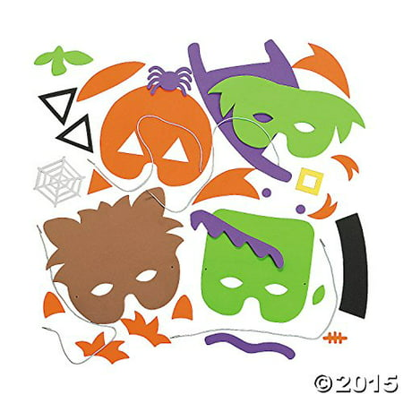 Halloween Mask Craft Kit - Crafts for Kids & Hats & Masks, 1 dozen Assorted Masks (Kid Crafts For Halloween Party)