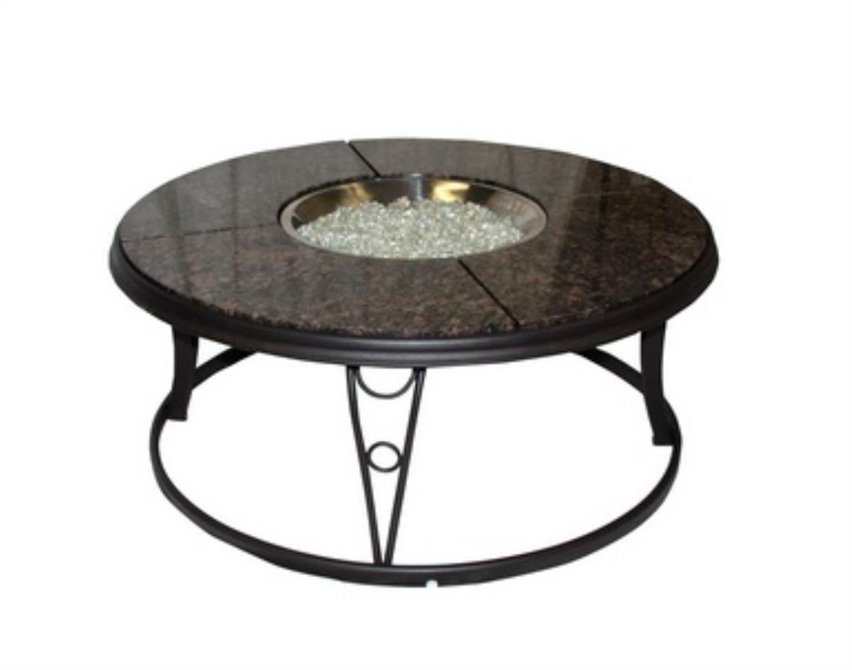Outdoor GreatRoom CFP42-K 42 inch Round Chat Firepit Table with Granite Top and Lazy Susan. by Outdoor GreatRoom