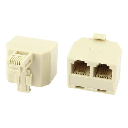 2Pcs RJ11 6P4C Double Holes Female/Female Telephone Cable Inline (Hotel Cable)