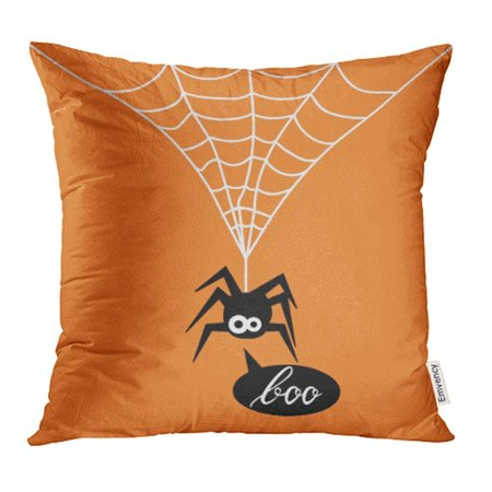 ARHOME Animal Cute Spider on Orange of for The Halloween Party Say Boo Arachnid Black Pillow Case Pillow Cover 18x18 inch Throw Pillow Covers (Throw A Halloween Party On The Cheap)