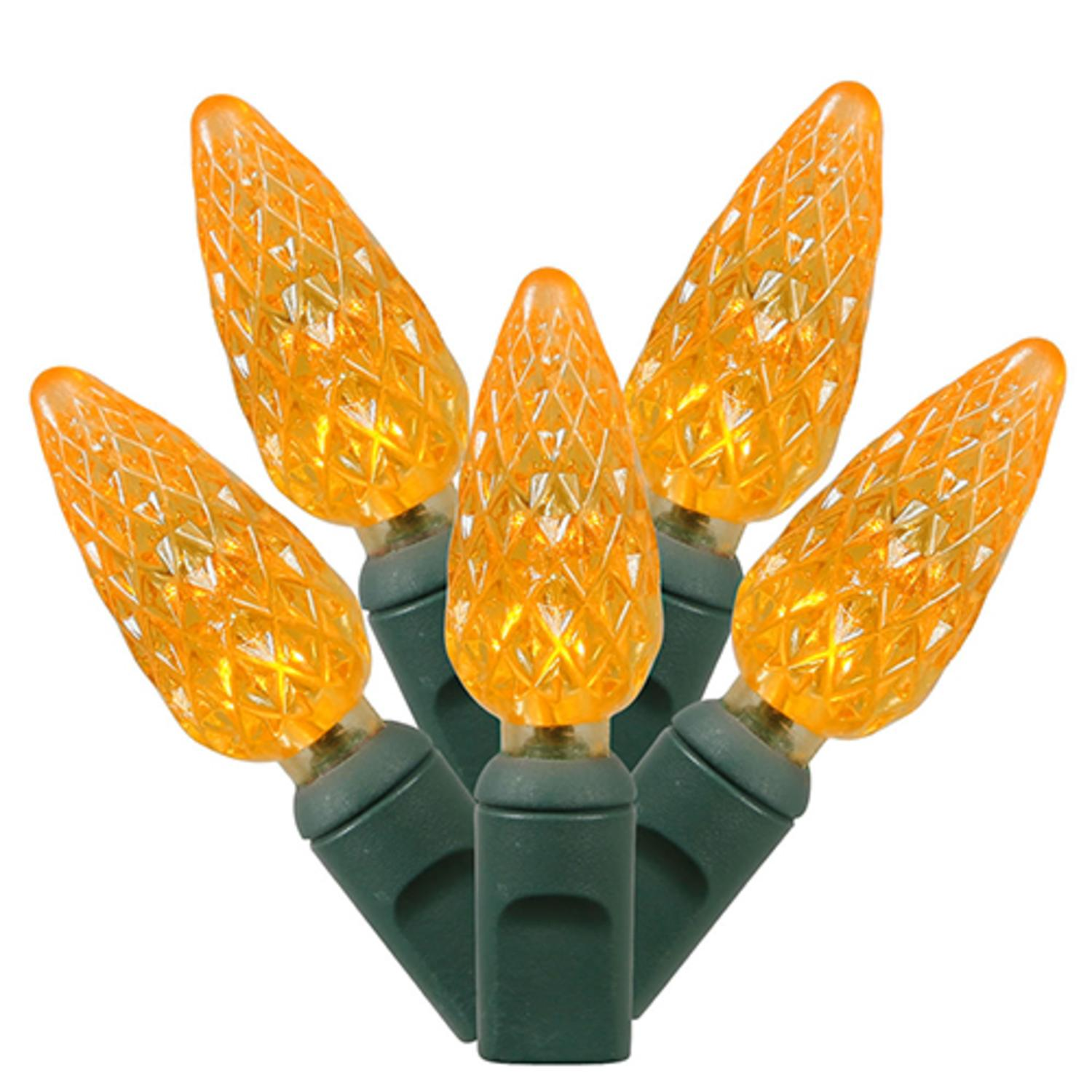 Set of 50 Amber Commercial Grade LED C6 Christmas Lights - Green Wire