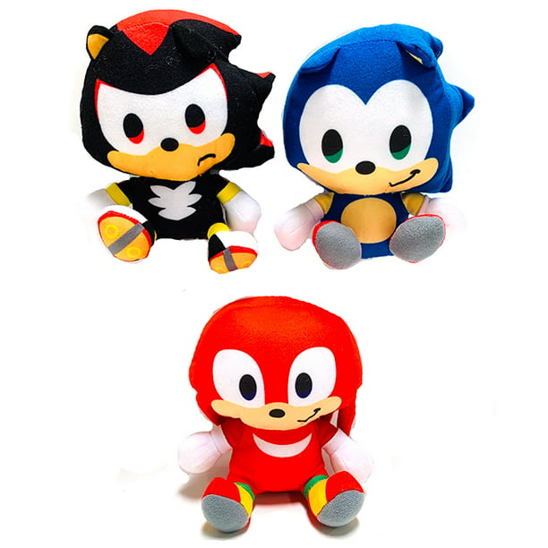 Sonic The Hedgehog 6 Inch 3 Piece Plush Toy Set Sonic Knuckles Shadow Walmart Com Walmart Com