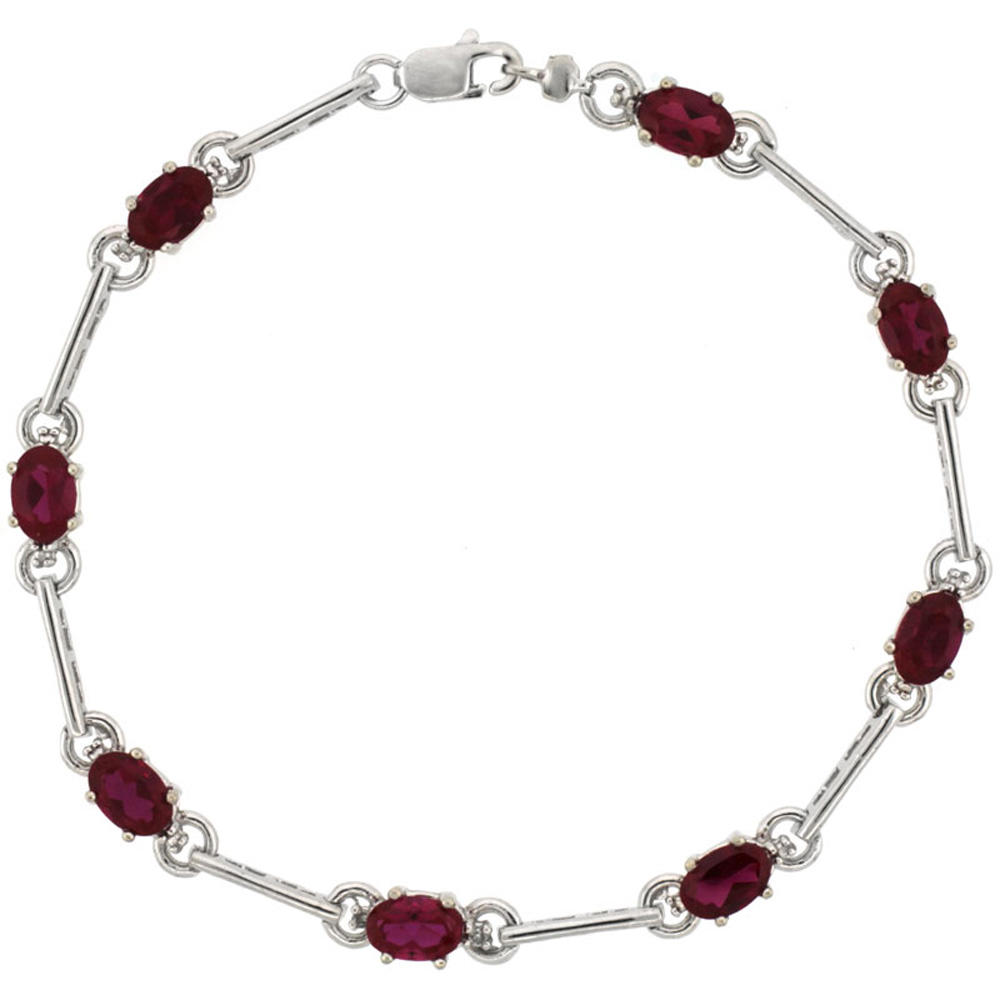 10k White Gold Dash Bar Tennis Bracelet 0.05 ct Diamonds & 4.0 ct Oval Created Ruby, 3 16 inch wide by WorldJewels