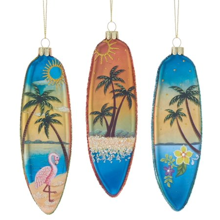 Palm Tree Scene (Kurt Adler Flamingo Palm Tree Surfboards Ocean Scenes Ornaments Set of)