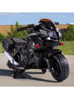Veryke Electric Motorcycle for Kids, Kids Ride on Motorcycle, Black 6V Battery Powered 4 Wheels Motorcycle Toy for Children Boys & Girls
