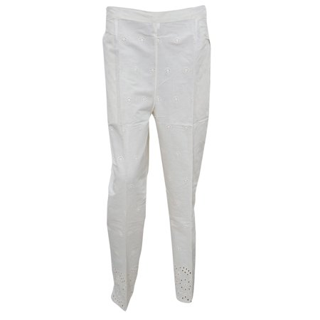 Mogul Women's Peasant Harem Pant Elastic Waistband White Cotton Comfy Trousers