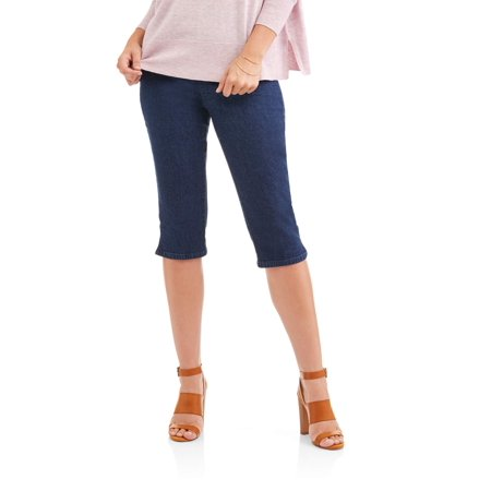 Women's Stretch Denim Pull-On Capri Pants - Womens Capes