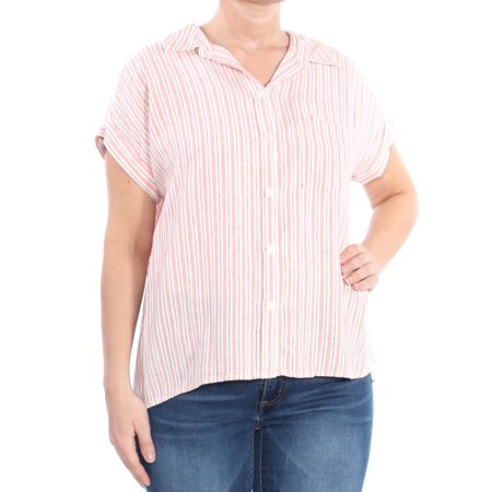 SANCTUARY Womens Pink Striped Mod Boyfriend Short Sleeve Collared Button Up Top  Size: L