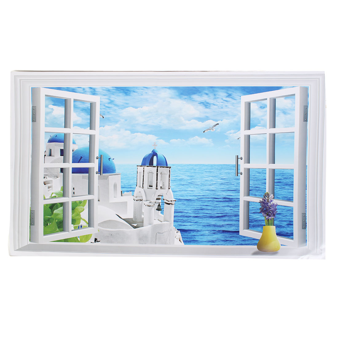 Home Room Decor Fake Window Seaview Background PVC Wall Sticker Wallpaper