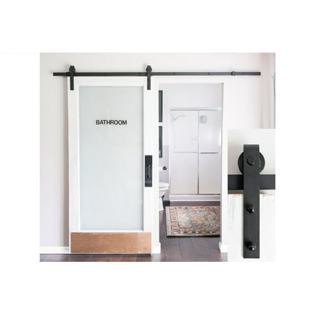 8-Foot Sliding Barn Door Hardware Kit (Black) Includes Easy Step-By on