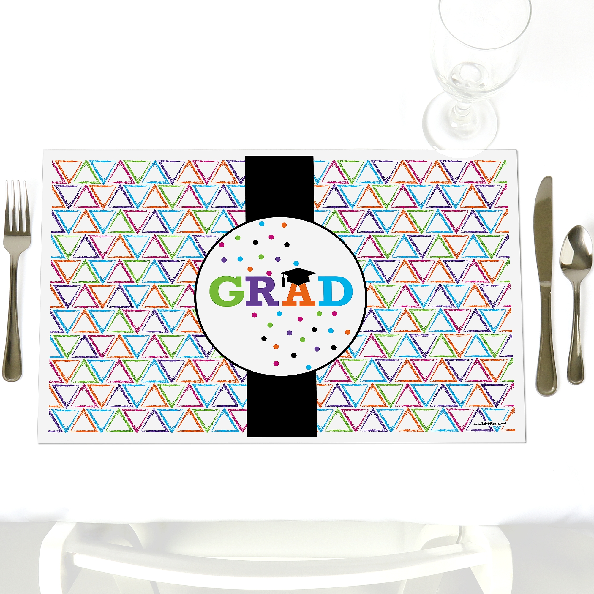 Hats Off Grad - Party Table Decorations - Graduation Party Placemats - Set of 12
