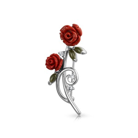 Dainty Red Roses Bouquet CZ Accent Brooch Pin For Women Rhodium Plated Brass