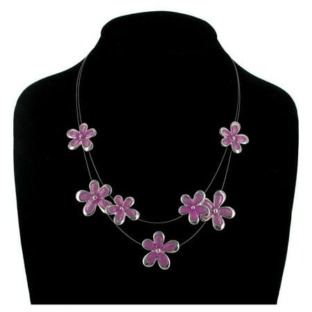 Purple Enamel Flower Two Strand Spring Floral Jewelry Ladies Necklace](Graduation Flower Necklace)