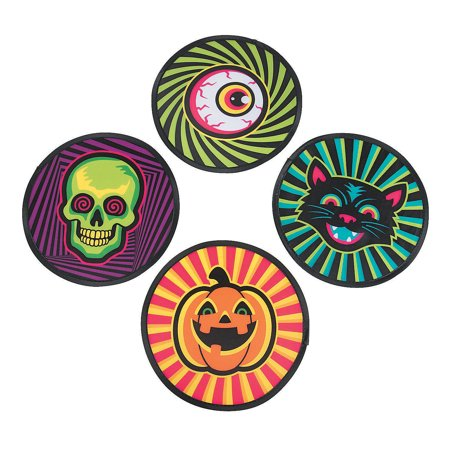 Fun Express - Spookadelic Nylon Flying Disks for Halloween - Toys - Active Play - Flying Discs & Kites - Halloween - 12 Pieces