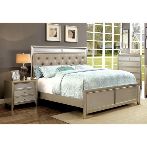 Furniture of America Mallorie 3-Piece Silver Bedroom Set, Multiple Sizes by Furniture of America