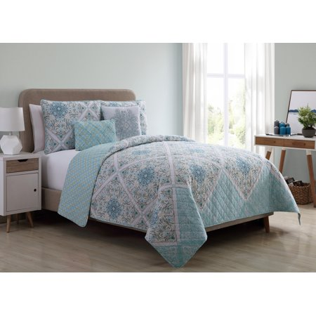 VCNY Home Windsor Floral Medallion Reversible Bedding Quilt Set, Multiple Sizes and Colors Available ()
