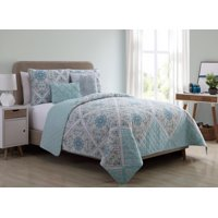 VCNY Home Windsor Floral Medallion Reversible Bedding Quilt Set, Multiple Sizes and Colors Available