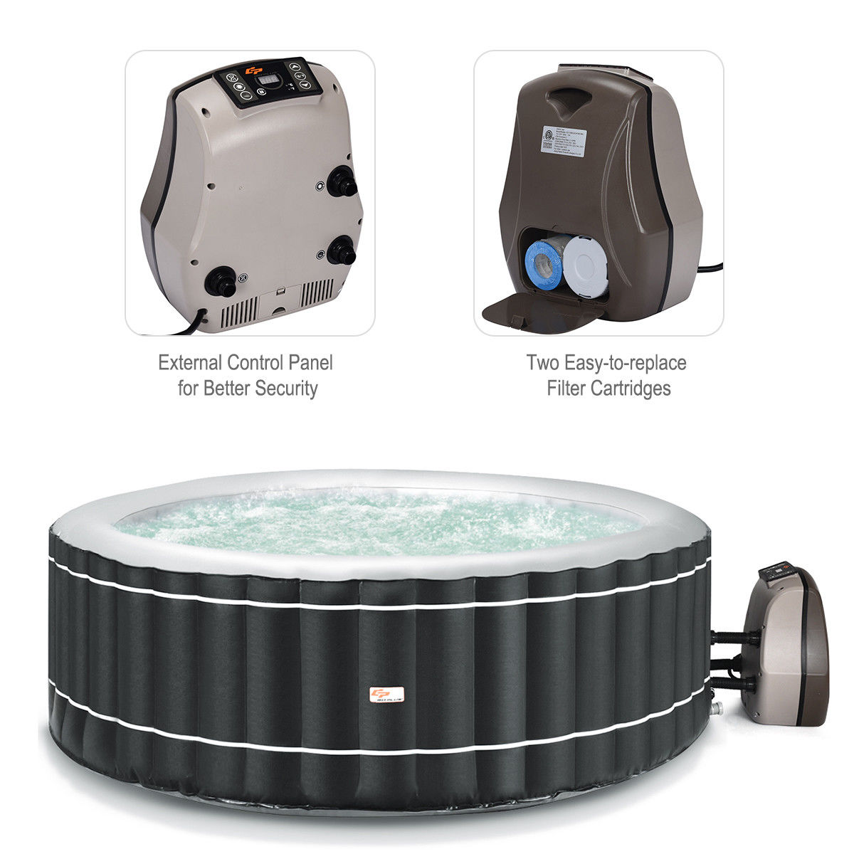 4-Person Inflatable Hot Tub Portable Outdoor Bubble Jet Leisure Massage Spa Gray - image 1 of 8