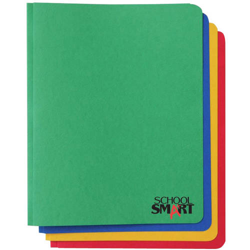 School Smart 3 Hole Fastener Insert Rounded Corners Report Cover, 8-1/2 x 11 Inches, Assorted Color, Pack of 25