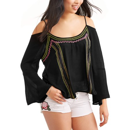 Sexy Black Slinky - Slinky Juniors' Border Embroirdered Print Long Sleeve Cold Shoulder Peasant Blouse