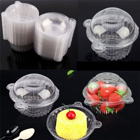 Ymiko 400Pcs Clear Plastic Cupcake Box Single Cake Case Muffin Pod Dome Holder Container - Single Cupcake Boxes
