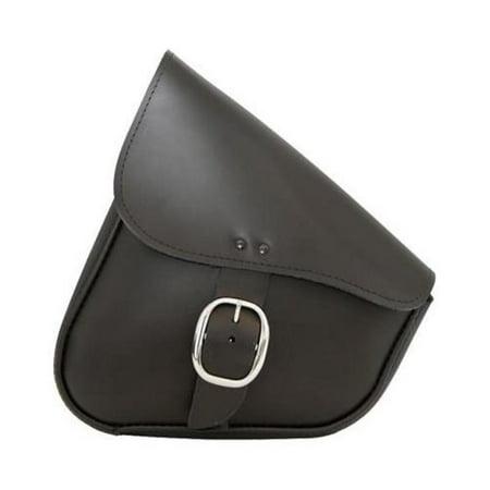 Willie & Max 59823-00 Leather Swingarm Bag - Black with Chrome Buckle