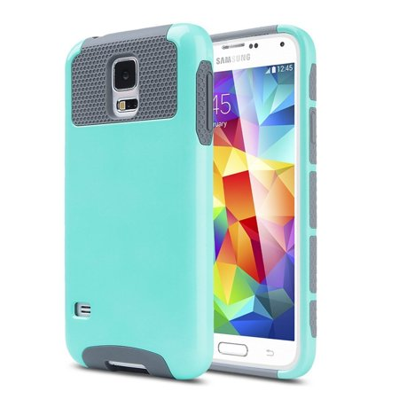Galaxy S5 Case, Dual Layer Shockproof Silicone Phone Protection Case TPU Hybrid Slim Fit Cover With  [Premium Screen Protector] And Touch Screen Pen (Teal)