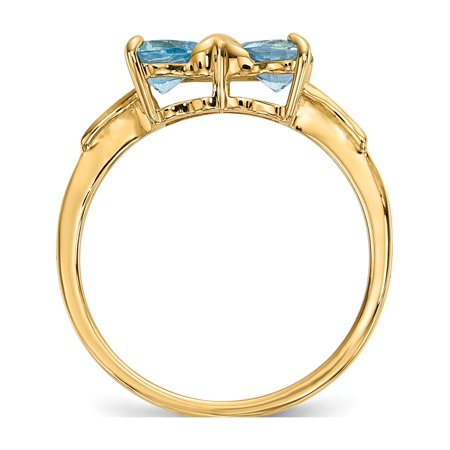 14k Yellow Gold  Polished Light Swiss Blue Topaz Bow Ring - image 4 of 5