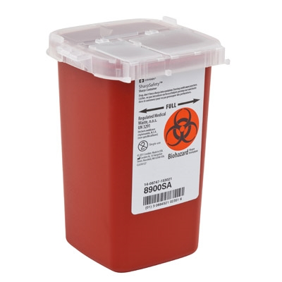Phlebotomy Sharps Container, AutoDrop, 1 Quart , 1-Piece, Vertical Entry Lid, 8900SA - Each