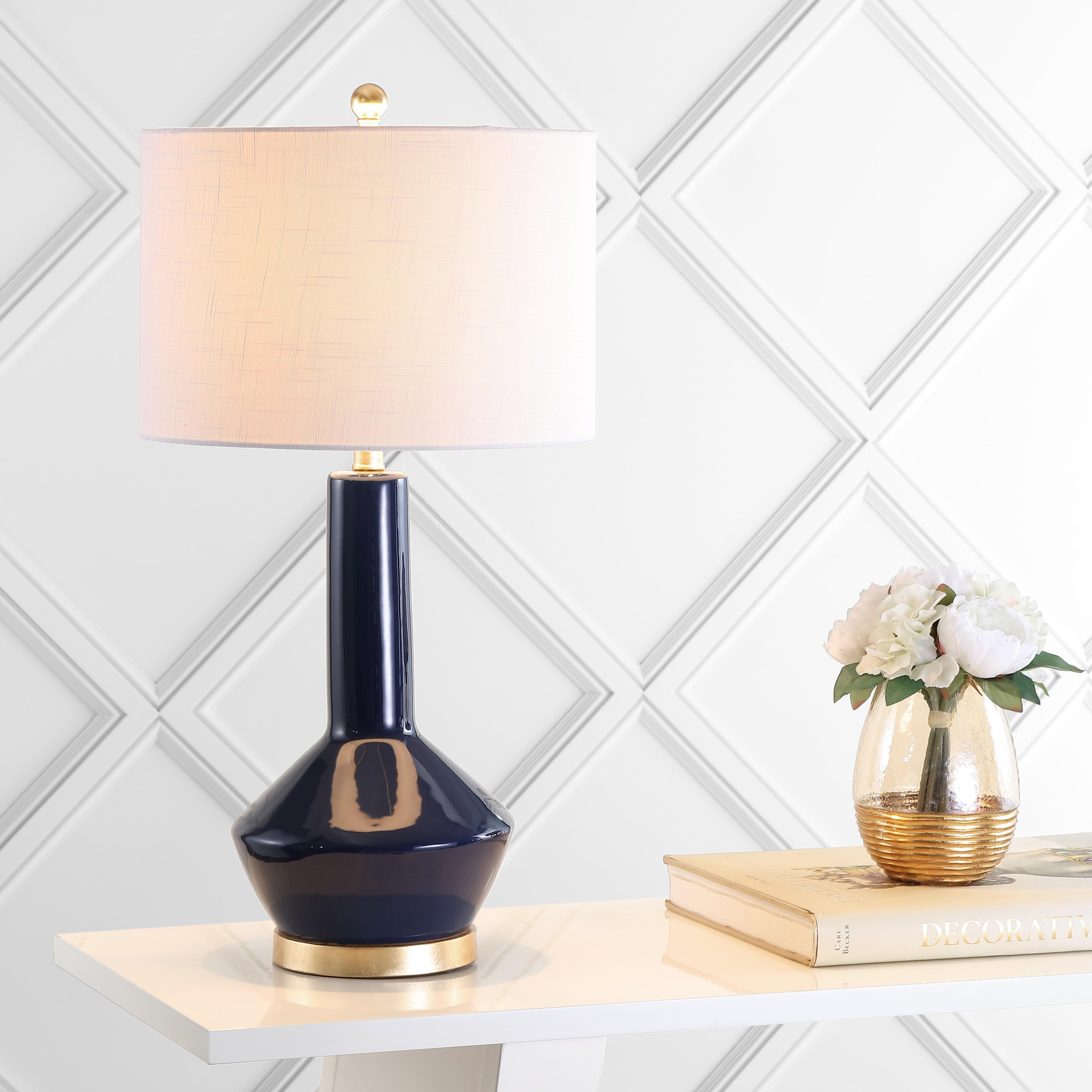 "Copenhagen 29"" Ceramic/Metal LED Table Lamp, Navy/Brass by JONATHAN Y"