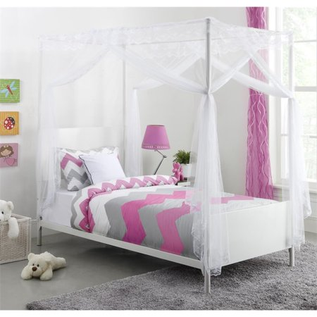 Dhp Canopy Twin Metal Bed In White Walmart Com