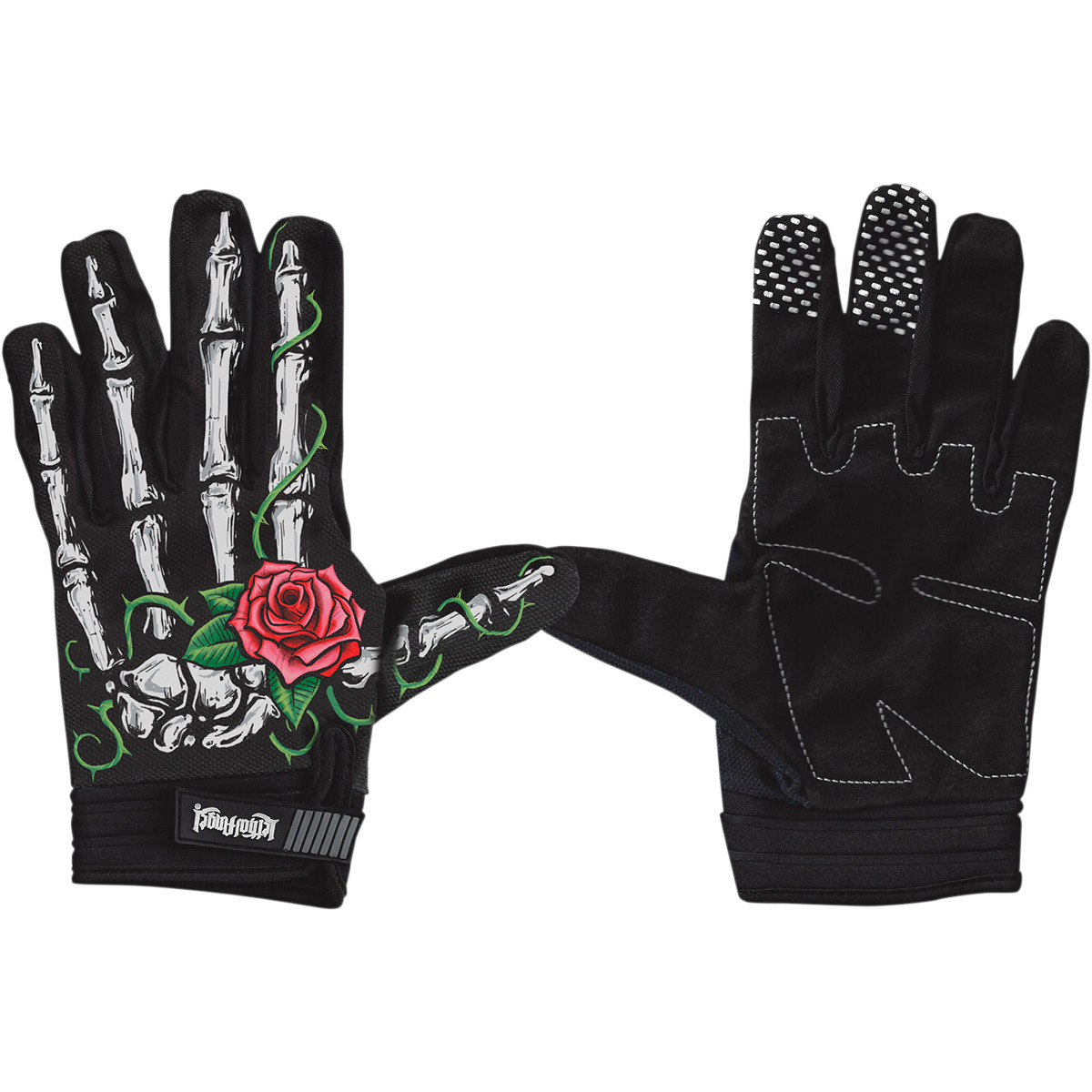 Lethal Threat Gloves Womens Short Cuff Textile Rose Bone/White