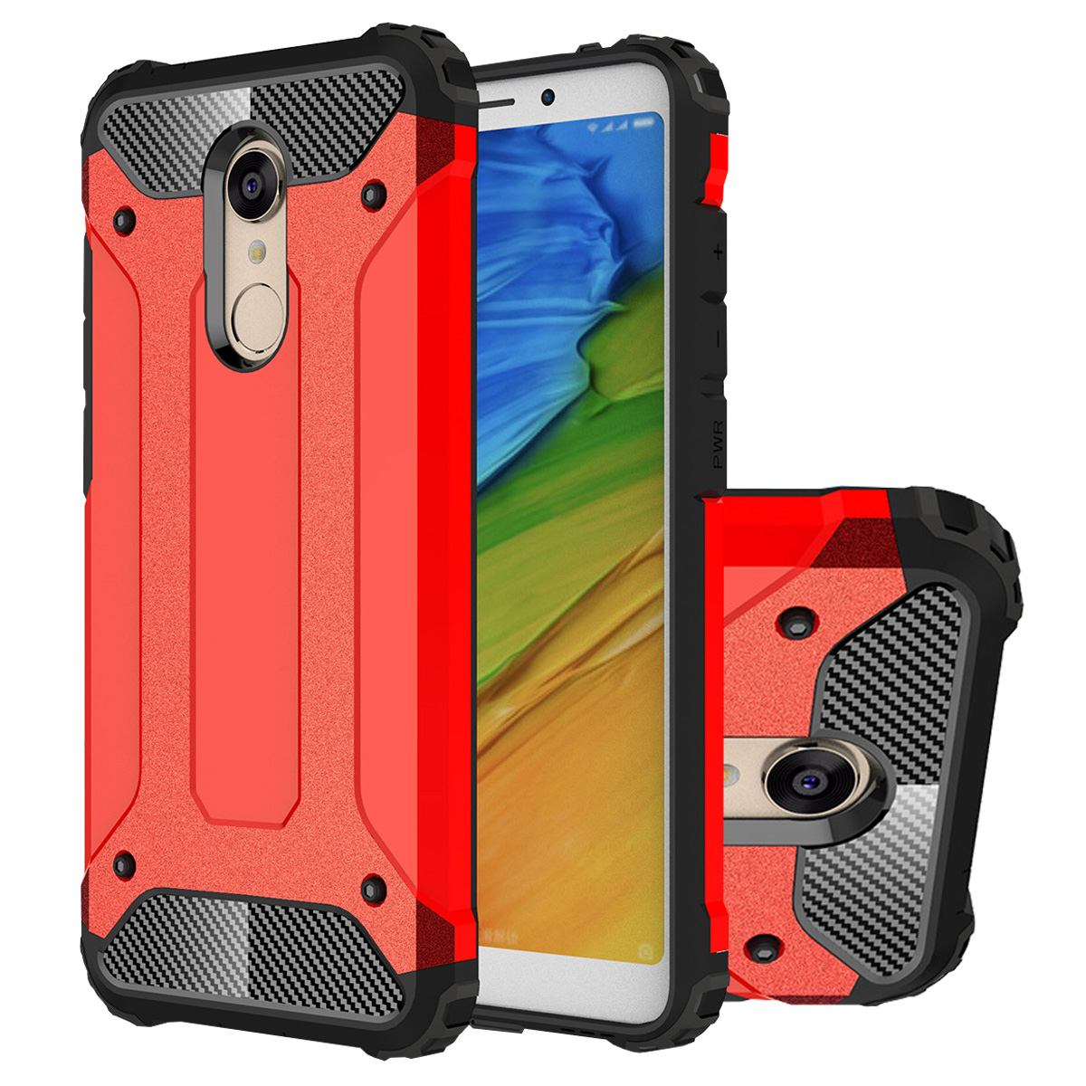 Redmi 5 Case, Mooncase Hybrid Armor Case Soft Silicone & Hard Plastic Defender Shockproof Protective Cover Shell for Xiaomi Redmi 5 Red - Walmart.com