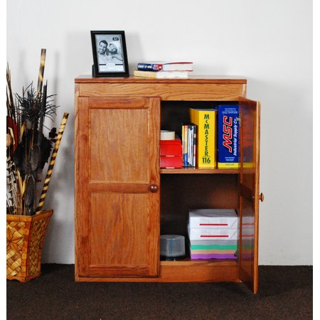 36' High Mobile Storage Cabinet - Concepts in Wood Storage Cabinet, 36 inch with 2 Shelves - Oak Finish