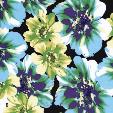 Poly Backing (SHASON TEXTILE (3 Yards cut) POLY KNIT BIG FLORAL PRINT, TEAL / FLORAL)