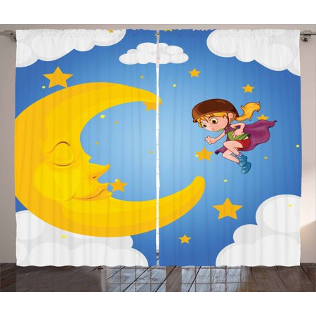 Explore Curtains 2 Panels Set, Cartoon Girl in a Cape Near the Sleeping Crescent Moon Superhero Theme Night Sky, Window Drapes for Living Room Bedroom, 108W X 84L Inches, Multicolor, by Ambesonne