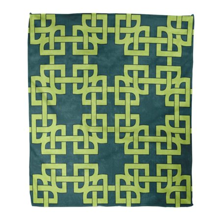 LADDKE Throw Blanket Warm Cozy Print Flannel Colorful Carpet Abstract Trendy Geometric with Celtic of Teal and Green Shades Comfortable Soft for Bed Sofa and Couch 58x80 Inches (Comfortable Green)