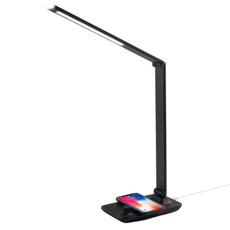 Desk Lamp Wireless Charger by Innoka Aluminum LED Table Lamp with 5V/2A Qi Wireless Charger Pad, 3 Color Modes, Scroll Dimmer Control, Eye Care, Night Light, Adjustable Angle, Extra USB Charging Port