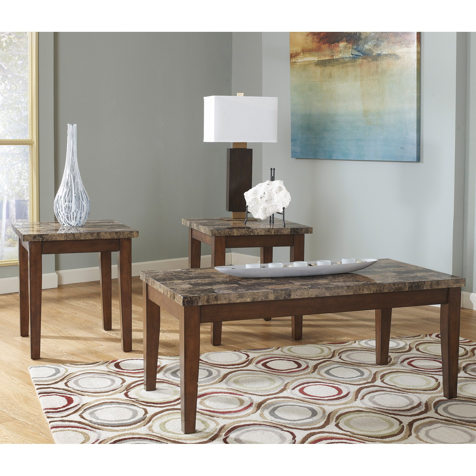 Exceptionnel Signature Design By Ashley Theo Brown Occasional Table   Set Of 3    Walmart.com