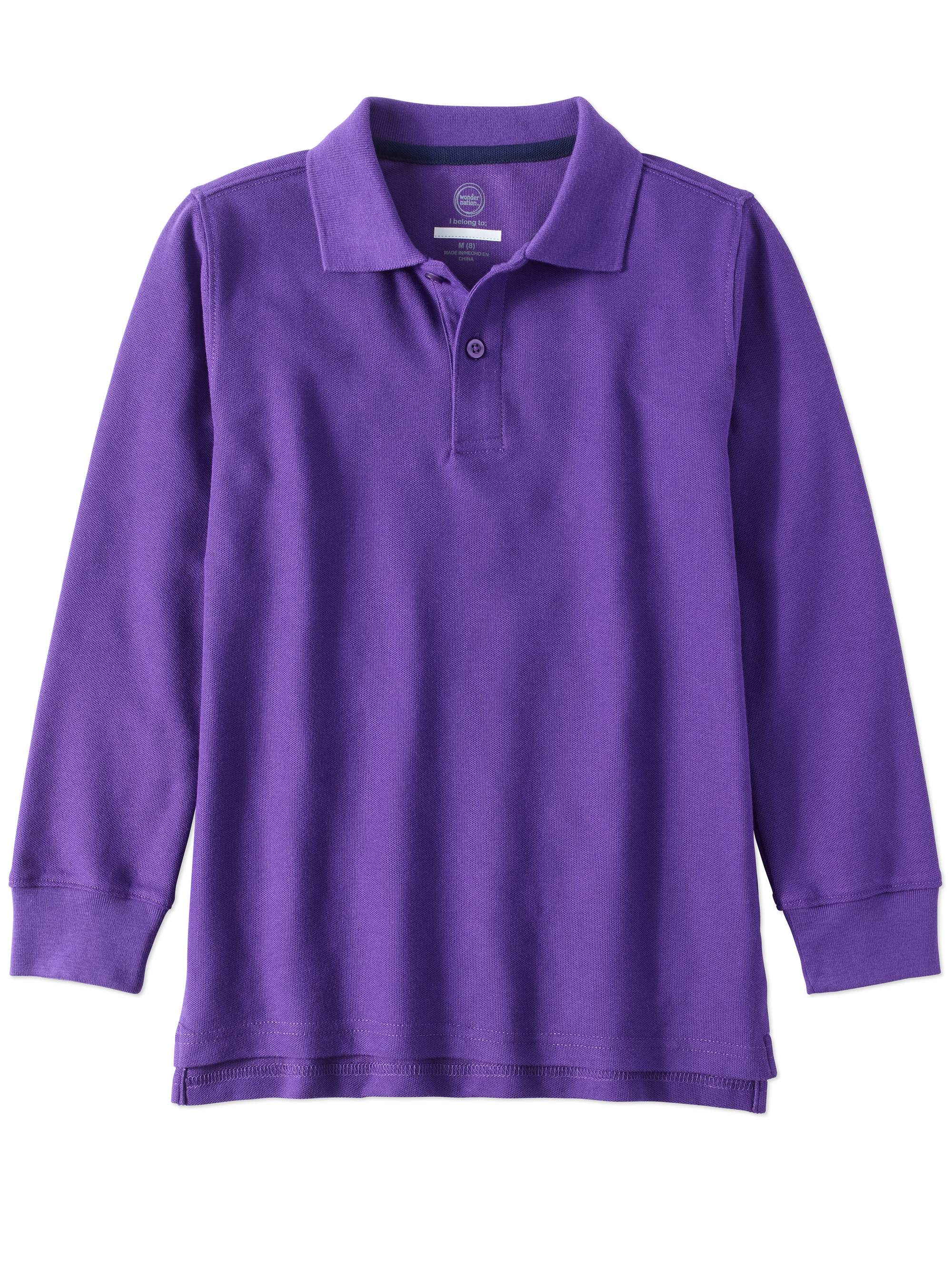 Boys School Uniform Long Sleeve Double Pique Polo