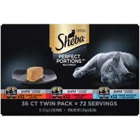 (36 Pack) Sheba Perfect Portions Wet Cat Food Pate, Savory Chicken Entree, Tender Beef Entree, Tender Whitefish & Tuna Entree Variety Pack, 2.6 oz. Twin-Pack Trays