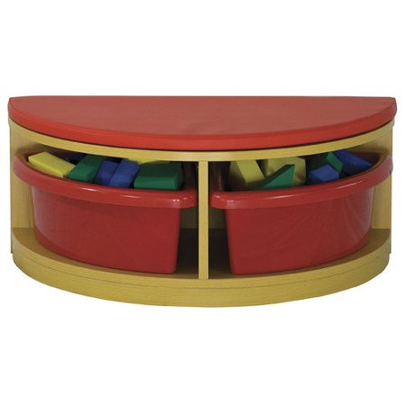 Ecr4kids Reading Sectional 1 2 Circle Bench With 2 Trays