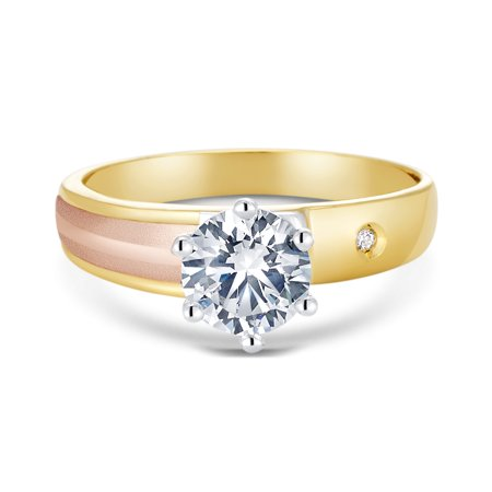 14K Tri Color Solid Gold 1 Ct. Round Cut Cubic Zirconia CZ Wedding - ENGAGEMENT RING ONLY - size 6.5