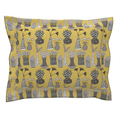 Flower Pots Flower Pots Mustard Black White Modern Pillow Sham by Roostery