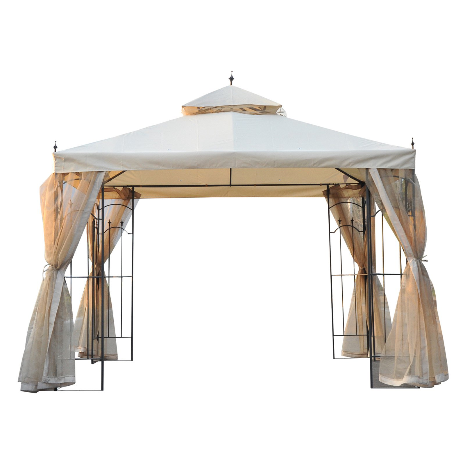 Outsunny 10 x 10 ft. Steel Outdoor Garden Gazebo with Mesh Curtains