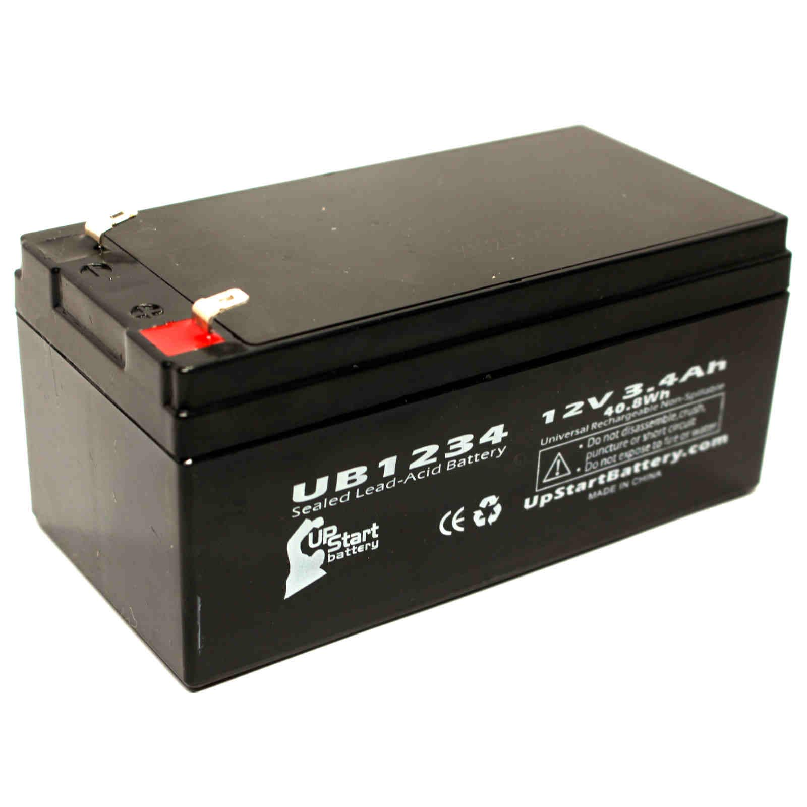 APC 35 Battery Replacement - UB1234 Universal Sealed Lead Acid Battery (12V, 3.4Ah, 3400mAh, F1 Terminal, AGM, SLA) - Includes TWO F1 to F2 Terminal Adapters - image 4 de 4