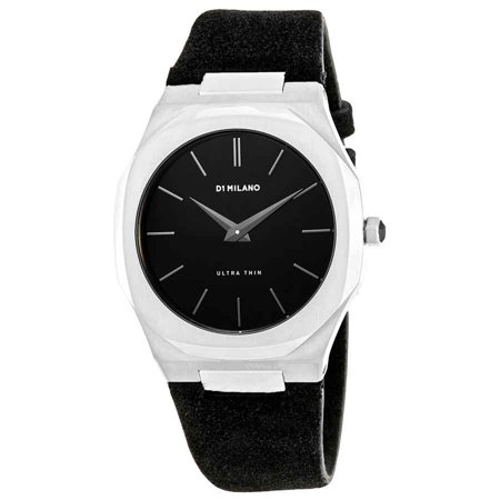 D1 Milano Ultra Thin Black Dial Black Leather Men's Watch A-UT04