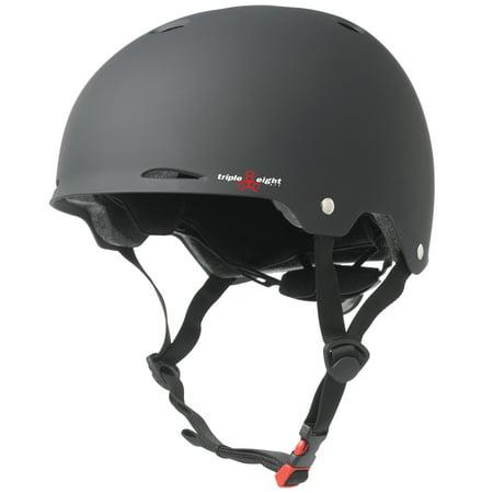 Triple 8 Gotham Dual Certified Black Rubber Bike & Skateboard Helmet, S/M Rubber Sm Helmet