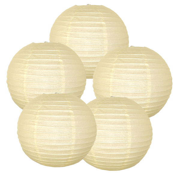 "Just Artifacts 8"" Ivory  Paper Lantern (Set of 5, Ivory, 8inch) - Decorative Round Paper Lanterns for Birthday Parties, Weddings, Baby Showers, and Life Celebrations"