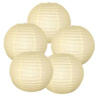 """Just Artifacts 12"""" Navy Blue Paper Lanterns (Set of 5) - Decorative Round Paper Lanterns for Birthday Parties, Weddings, Baby Showers, and Life Celebrations"""